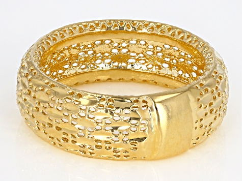 18k Yellow Gold Over Bronze Diamond Cut Filigree Band Ring