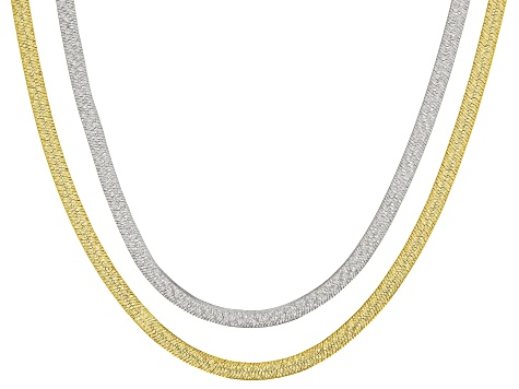 18k Yellow Gold Over Bronze and Rhodium over Bronze 18 inch Necklace Set of Two