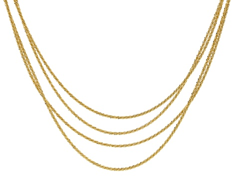 18k Yellow Gold Over Bronze 4 Strand Criss Cross 18 inch Necklace
