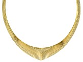 18k Yellow Gold Over Bronze Textured Graduated Omega 18 inch Necklace
