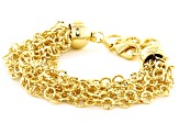 18k Yellow Gold Over Bronze Multi-Row Diamond Cut Cable 7 inch + 2 inch Extender Bracelet