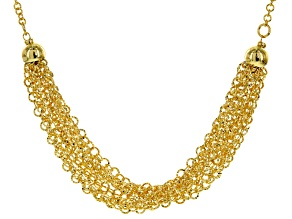 18k Yellow Gold Over Bronze Multi-Row Diamond Cut Cable 20 inch and 2 inch Extender Necklace