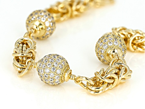 Moda Al Massimo® Cubic Zirconia 18K Yellow Gold Over Bronze Ball Bracelet 7.5 Inch 7.75ctw