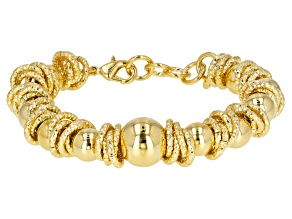 Moda Al Massimo® 18k Yellow Gold Over Bronze Designer Ball Station 8 inch Bracelet