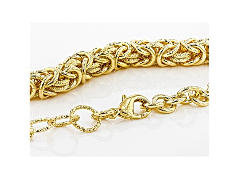 18k Yellow Gold Over Bronze Byzantine and Cable 19 1/2 inch Necklace