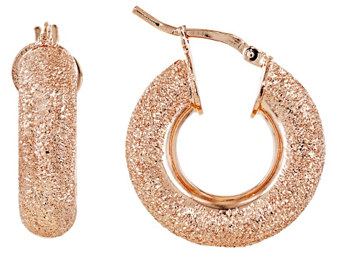 18k Rose Gold Over Bronze 10mm Luccichio Hoop Earrings