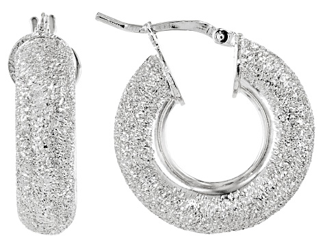 Rhodium Over Bronze 10mm Luccichio Hoop Earrings