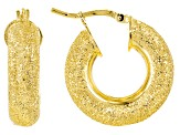 18k Yellow Gold Over Bronze 10mm Luccichio Hoop Earrings