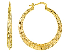 18k Yellow Gold Over Bronze 28mm Filigree Hoop Earrings