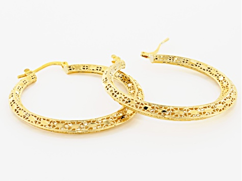 18k Yellow Gold Over Bronze 28mm Filigree Hoop Earrings