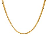 18k Yellow Gold Over Bronze Multi-Strand Square Snake 24 inch Necklace