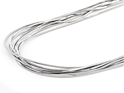 Rhodium Over Bronze Multi-Strand Square Snake 24 inch Necklace