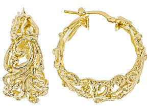 18 kt Yellow Gold Over Bronze Filigree Hoop Earrings