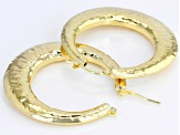 18k Yellow Gold Over Bronze Hammered Tube Earrings