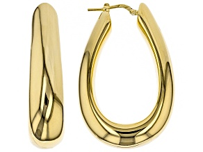 18kt Yellow Gold Over Bronze Horseshoe Polished Tube Earrings