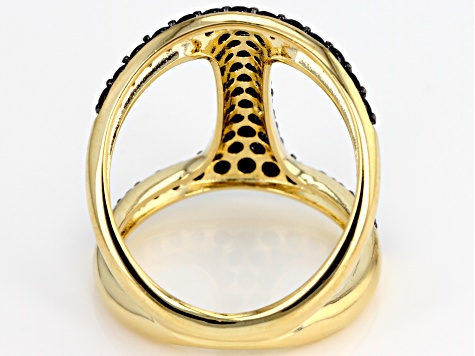 Moda Al Massimo® .90ctw Black Spinel 18k Yellow Gold Over Bronze Bar Ring