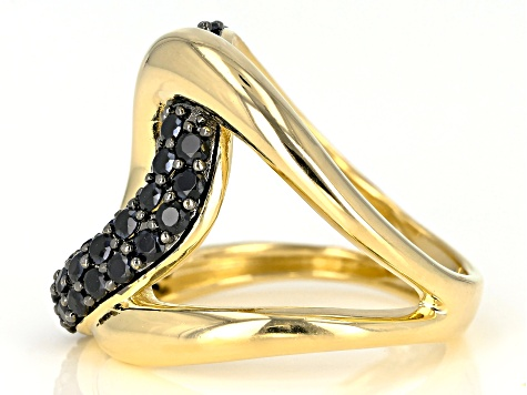 1.30ctw Black Spinel 18k Yellow Gold Over Bronze cross over ring.