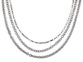 Rhodium Over Bronze Multi-Chain 20 inch Necklace