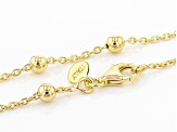 18k Yellow Gold Over Bronze Bead Station 36 inch Necklace