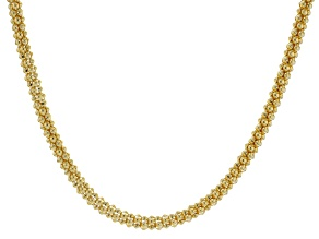 18k Yellow Gold Over Bronze Popcorn 20 inch Chain Necklace