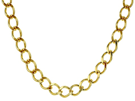 18k Yellow Gold Over Bronze Diamond Cut Curb 20 inch Necklace
