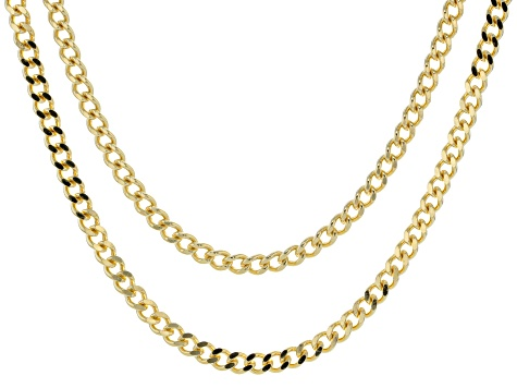 18k Yellow Gold Over Bronze Curb 18 inch and 20 inch Chain Necklace set of Two