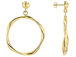 18k Yellow Gold Over Bronze Twisted Dangle Earrings