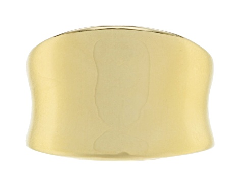18k Yellow Gold Over Bronze Polished Band Ring