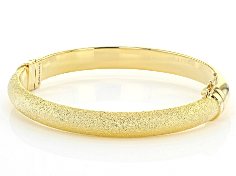 Moda Al Massimo® 18K Yellow Gold Over Bronze Diamond Cut Bangle Bracelet 8 Inch