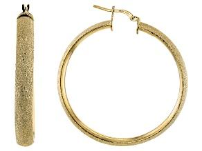 Moda Al Massimo® 18K Yellow Gold Over Bronze Diamond Cut Tube Hoop Earrings
