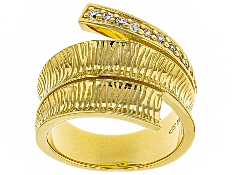Moda Al Massimo® White Cubic Zirconia 18k Yellow Gold Over Bronze Bypass Ring