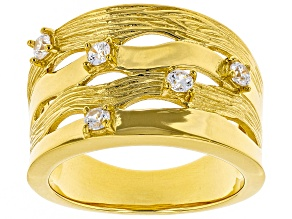 Moda Al Massimo® White Cubic Zirconia 18K Yellow Gold Over Bronze Ring