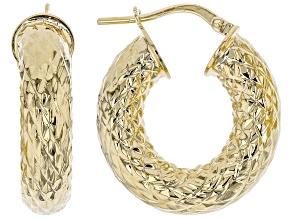 Moda Al Massimo® 11mm 18K Yellow Gold Over Bronze Hammered Hoop Earrings