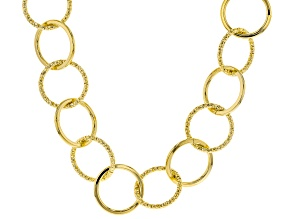 Moda Al Massimo® 18K Yellow Gold Over Bronze Hammered & Polished Circle Necklace 24.5 Inch
