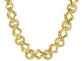 Moda Al Massimo® 18K Yellow Gold Over Bronze Designer Link Hammered & Polished Necklace 20 Inch