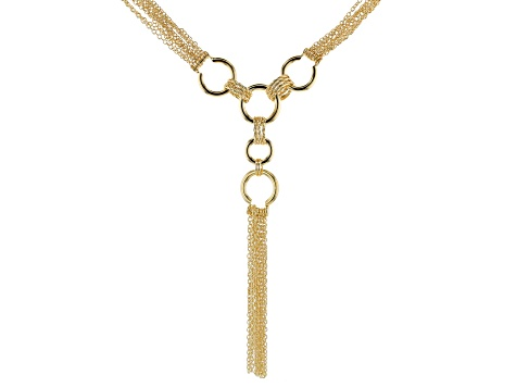 Moda Al Massimo® 18K Yellow Gold Over Bronze Multi Chain Link Designer Tassel Necklace