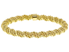 Moda Al Massimo® 18K Yellow Gold Over Bronze Spiral Bead Stretch Bracelet