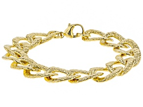 Moda Al Massimo® 18K Yellow Gold Over Bronze Large Link Hammered & Polished Bracelet 8 Inch