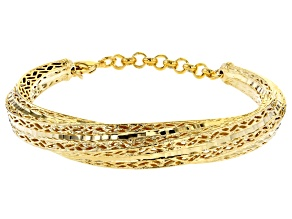 Moda Al Massimo® 18K Yellow Gold Over Bronze Crossover Bangle Bracelet 7.5 Inch