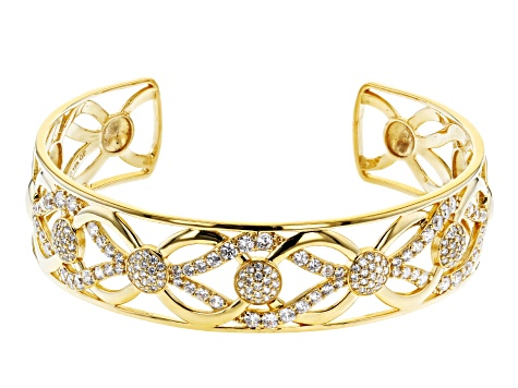 Moda Al Massimo® 18K Yellow Gold Over Bronze Cuff Bracelet 8 Inch Bella Luce® White Cubic Zirconia