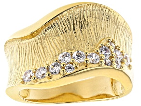 Moda Al Massimo®  White Cubic Zirconia 18K Yellow Gold Over Bronze Wide Wave Band Ring