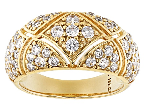 Moda Al Massimo® 18K Yellow Gold Over Bronze  Band Ring With Bella Luce® White Cubic Zirconia