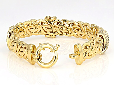 Moda Al Massimo®  White Cubic Zirconia, 18K Yellow Gold Over Bronze Designer Bracelet