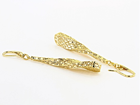 Moda Al Massimo® 18K Yellow Gold Over Bronze Diamond Cut Dangle Twist Earrings