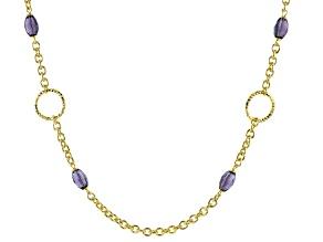 Moda Al Massimo® 18K Yellow Gold Over Bronze Simulant Amethyst Rolo Link Chain Necklace 24 Inch