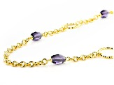 Moda Al Massimo® 18K Yellow Gold Over Bronze Simulant Amethyst Rolo Link Chain Necklace 24 Inch