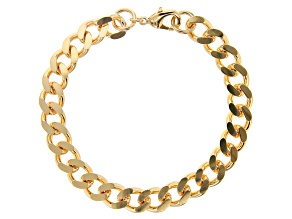 18K Yellow Gold Over Bronze Curb Link Bracelet