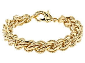 Moda Al Massimo® 18K Yellow Gold Over Bronze Designer Link Bracelet 8.25 Inch
