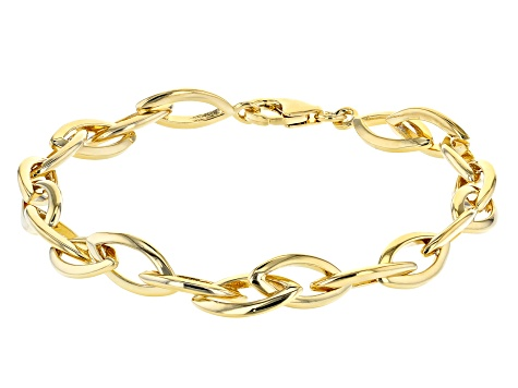 Moda Al Massimo® 18K Yellow Gold Over Bronze Elongated Cable Link Bracelet 8 Inch