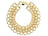 Moda Al Massimo® 18K Yellow Gold Over Bronze Round Cable Link Bracelet 8 Inch